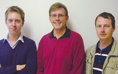Gerhard Nel - Farsoft development manager, Grant Hearn from UWC and Paul Rossouw, Farsoft developer and web programming guru.